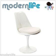 mid century modern saarinen style tulip side armless chair : white