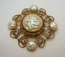 Hobe Brooch Pin Faux Pearl Scroll Work Brass Vintage