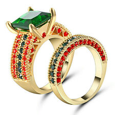 Emerald Ring Set Green Crystal Women's 10Kt Yellow Gold Filled Wedding Size 6