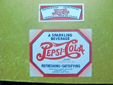 VINTAGE PEPSI COLA 40'S AND 50'S BOTTLE AND NECK PAPER LABLES/ NEW OLD STOCK #3