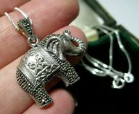 """Beautiful Sterling Silver Marcasite Stone ELEPHANT Pendant 18"""" Chain Necklace"""