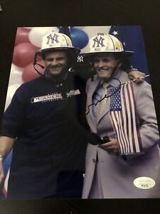 Joe Torre Signed Twin Towers 9/11 & YANKEES 8x10 Photo JSA Authentication