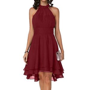 Plus Size Women Sleeveless Dress Evening Party Formal Cocktail Prom Mini Dresses