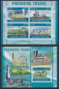 Togo  3759 - 3762 KB + Block 562 (3763) **, Frühe Dampflokomotiven (24 ME)