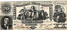 "1861 $20.00 Confederate States of America ""Industry,Cupid, Beehive T20-139 XF/AU"