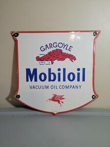VINTAGE PORCELAIN MOBILOIL-GARGOYLE VACUUM OIL CO SIGN