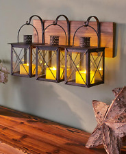 Wall Sconce Candle Holder Rustic Lantern Metal Glass Country Decorations Home
