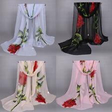 Fashion Women's Rose flower Print Hijab Scarf rectangle Head Shawl Scarfs Black