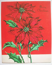 Poinsettias Christmas Vintage Greeting Card *e