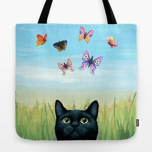 Tote bag All over print black Cat 606 Butterfly Nature art painting by L.Dumas
