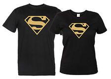 Superman Maglietta Logo Oro T-Shirt Uomo Donna Supereroe