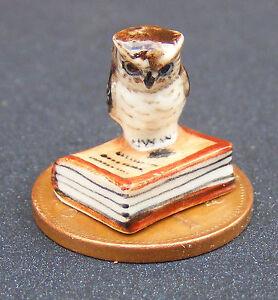 Ceramic Owl On A Closed Book Tumdee 1:12 Scale Dolls House Bird Accessory B