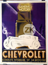 CHEVROLET General Motors Skyscraper VOITURE Art-Deco Car CARDINAUX Affiche 1932