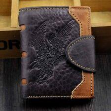 Men's Eagle Vintage Natural Genuine Leather Bifold Wallet Credit Card Holder