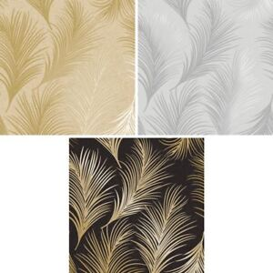 Holden Metallic Feather Pattern Wallpaper Leaf Motif Modern Textured Exclusive