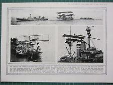 1915 WWI WW1 PRINT ~ AIR-RAID ON GERMAN WAR-SHIPS CUXHAVEN BRITISH SEA-PLANES