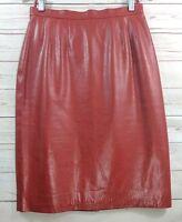 Carlisle Red Leather Pencil Skirt Women's Size 8 Snake Embossed Design