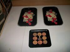Vintage Metal Serving Trays Floral Pattern - Used