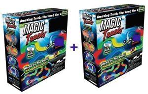 MAGIC TRACKS Glow N Dark LED LIGHT UP RACE CAR Bend Racetrack 330Pcs