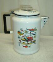 Vintage Enamelware 3 Qt. Coffee Pot Kitsch Country Berggren Sweden Harvest