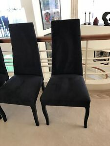 8 Black Fabric ( high back.) dining chairs