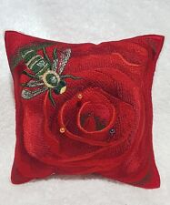 Pin cushion - Embroidered Red Rose with bee