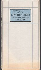 The Lincoln Club Annual Banquet - Vintage 1925 Booklet - Portland, Maine