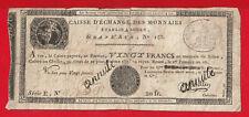"""BON DE 20 FRANCS """"CAISSE D'ECHANGE DES MONNAIES """" Rouen, le 1er Frimaire an 10"""