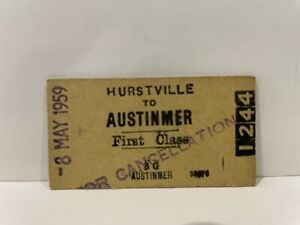 NSWGR Railway Hurstville to Austinmer First Class Ticket 1959