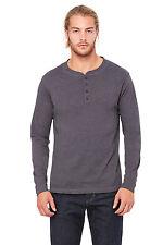 Canvas Mens Long Sleeve Henley T-shirt Mans Cotton Tee Buttons S-xxl 4 Colours Dark Grey Heather L