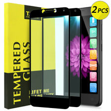 [2-Pack] TJS For Alcatel Tetra Full Coverage Tempered Glass Screen Protector