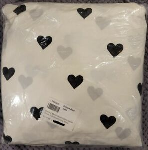 PBteen Emily & Meritt Heart Sateen Duvet Cover, Full/Queen, Ivory/Black
