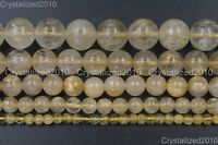 Natural Golden Rutilated Quartz Gemstone Round Beads 4mm 6mm 8mm 10mm 12mm 15.5""