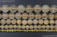 Natural Golden Rutilated Quartz Gemstone Round Beads 4mm 6mm 8mm 10mm 12mm 16''