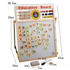 2 IN 1 KIDS CHILDREN WOODEN MAGNETIC BLACKBOARD LEARNING EDUCATIONAL BOARD