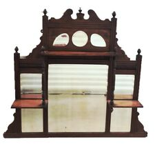 Antique Victorian Renaissance Revival Hanging Display Shelf With Beveled Mirror