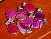 REVISE Natural Pink Lace Botswana Agate Gemstone 925 Sterling Silver Pendants