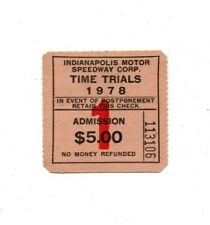 IN Indiana Indianapolis Motor Speedway Indy 500 Time Trial 1978 Ticket Stub