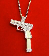 Gun Pendant Charm Pc With 22�Rope Chain Men's 14K Gold Finish Bust Down Pistol