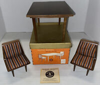 Vintage 1958 Mattel BARBIE MID CENTURY MODERN Table Chairs Furniture w/Box Paper