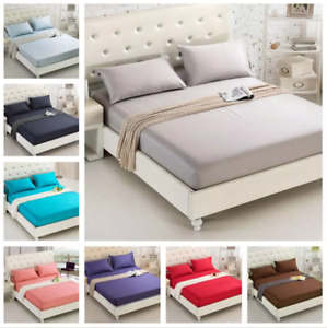 UK Extra Deep 20cm Fitted Sheet Single Double King Super King Size Bed Sheets