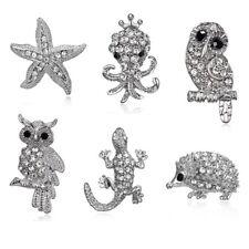 Brooch Pin Women Costume Jewelry New Fashion Silver Animal Owl Lizard Crystal