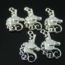 10 pcs Silver Tone Alloy Horse Head Pendant Charms Accessories 23*15*2mm 38359