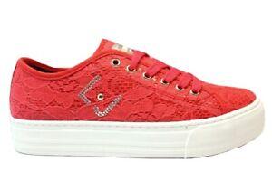 Scarpe bambina LiuJo UM22940 sneakers casual platform tela pizzo rosse 30 e 31