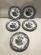 Davenport Lily Ironstone England Flow Black  Mulberry 1846 Set Of 6 Dish Plate