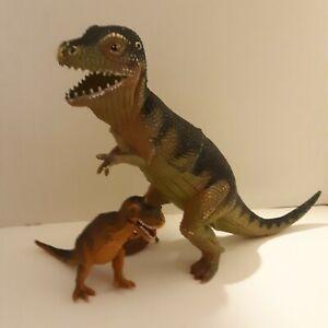 """Lot of 2 Tyrannosaurus Rex Plastic 10 1/2"""" Tall 4 1/2"""" Tall small is Dolgen"""