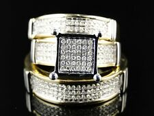 Two-Tone Gold Over His Her Lab Diamond Engagement Bridal Wedding Trio Ring Set