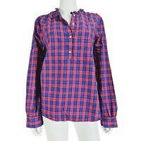 Gap sz L Blouse / Shirt Pink Blue Check