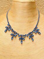 VTG Art Deco Crystal Rhinestone Necklace Collar Choker Cobalt Blue Waterfall