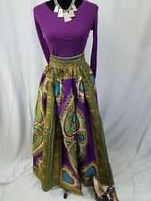 "Women African Ankara Kitenge Dashiki Print High Waist 39"" Maxi Long Skirt  SIZ16"